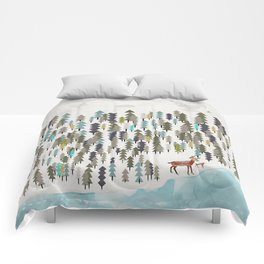 the winter forest Comforters