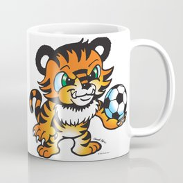 Soccer Tiger (color) square Coffee Mug
