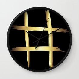 Abstract Gold Metallic Crossroads Wall Clock