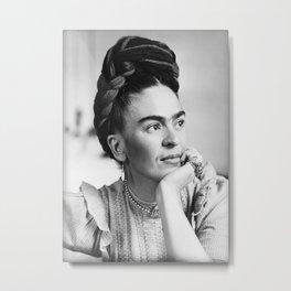 Frida Kahlo, Black and White Vintage Art Metal Print