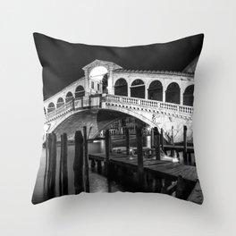 VENICE Rialto Bridge at Night | Monochrome Throw Pillow