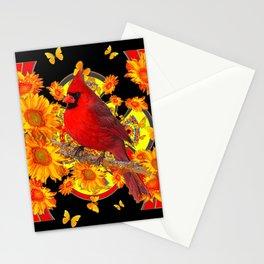BUTTERFLIES  RED CARDINAL SUNFLOWERS BLACK ART Stationery Cards
