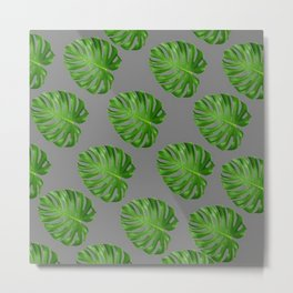 GREEN TROPICAL CUT LEAF ON GREY  DESIGN ART Metal Print