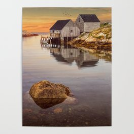 Peggy's Cove Harbor at Sunset in Nova Scotia Poster