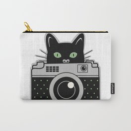 Black Cat and Camera Carry-All Pouch