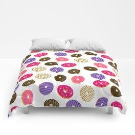 Modern cute pastel hand drawn donuts pattern food illustration Comforters
