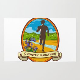Country Marathon Run Oval Retro Rug