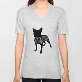 Boston Terrier Silhouette Unisex V-Neck