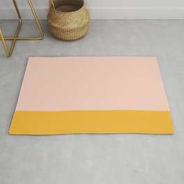 Millennial Pink and Mustard Yellow Minimalist Color Block Rug