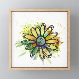 GC031-11 Colorful watercolor doodle flower yellow and blue Framed Mini Art Print