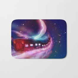 A Trip to the Moon by Locomotive Bath Mat