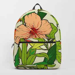 Tropical Island-Style Artsy Leaves & Happy Floral Pattern Backpack