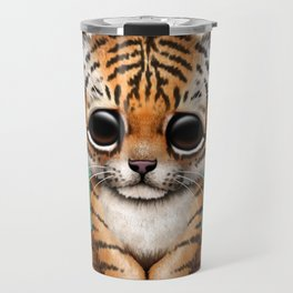 Cute Tiger Cub Dj Wearing Headphones on Blue Travel Mug
