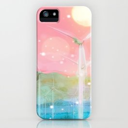 wind turbine in the desert with snow and bokeh light background iPhone Case