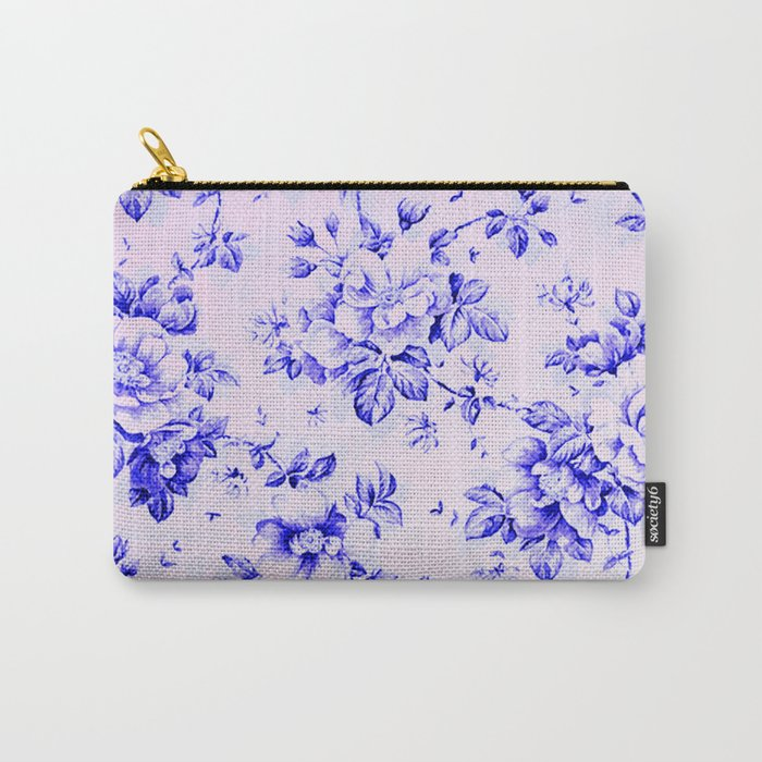 blue earthenware vintage floral Carry-All Pouch