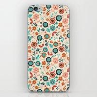 folk iPhone & iPod Skins featuring Folk Flowers by Anna Deegan