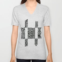 Checkerboard Detail, Black/White Abstract(ink drawing) Unisex V-Neck