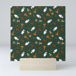 Whisky Pattern in Dark Green Mini Art Print