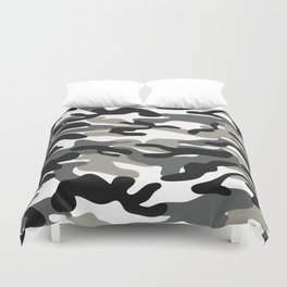 Black And White Military Camouflage Pattern Duvet Cover