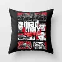 gta Throw Pillows featuring Mashup GTA Mad Max Fury Road by Akyanyme