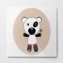 Panda with Lollipop Metal Print