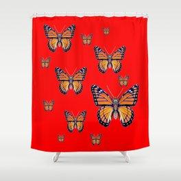 RED ART MONARCH BUTTERFLIES Shower Curtain