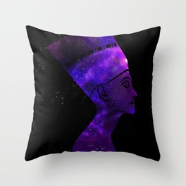 Queen Nefertiti Nebula Dark Stardust Throw Pillow