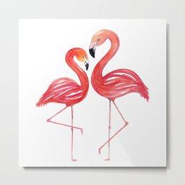 Flamingo Love Watercolor Painting Metal Print