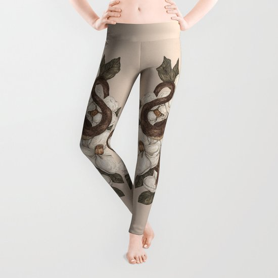 Snake and Magnolias Leggings