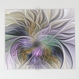 Abstract Flower, Colorful Floral Fractal Art Throw Blanket