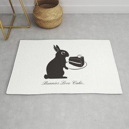 Bunnies Love Cake, Bunny Illustration, cake lovers, animal lover gift Rug