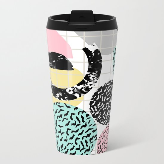 Amped - retro memphis throwback 80s style grid dots painting cut paper Metal Travel Mug
