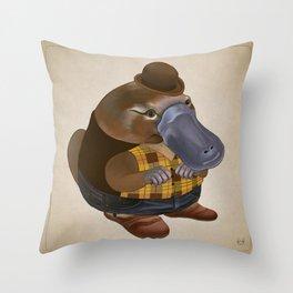 Plaidypus Throw Pillow