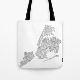New York City Boroughs - Hand lettered map Tote Bag