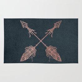 Arrows Rose Gold Foil on Navy Blue Rug