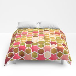 Kaleidoscope effect. Watercolor mosaic stars. Comforters