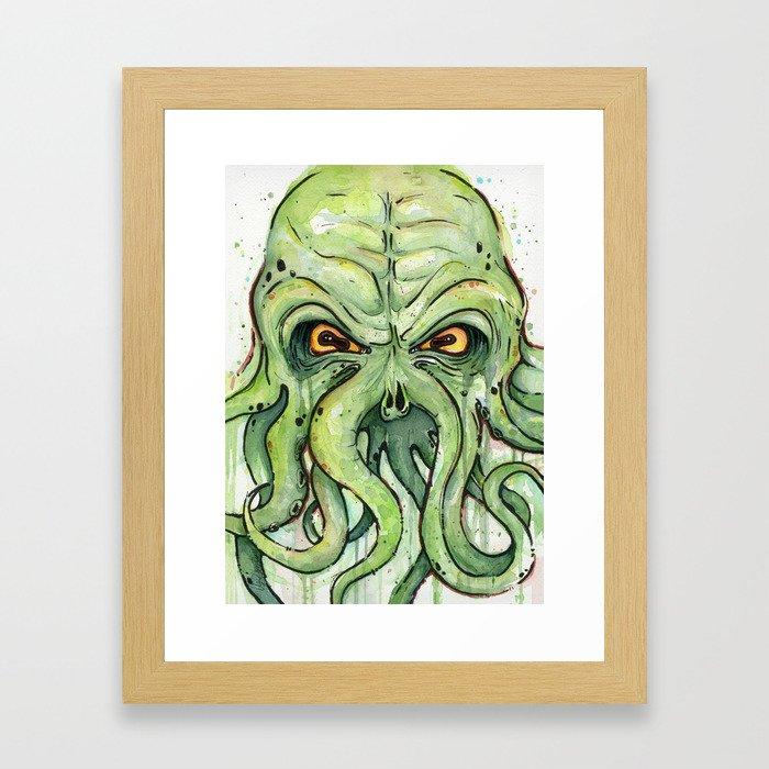 Cthulhu HP Lovecraft Green Monster Tentacles Framed Art Print