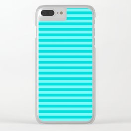 Striped Summer Pattern, Teal and Turquoise Clear iPhone Case