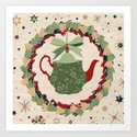 Christmas Teapot inside the Wreath  by kata_illustration