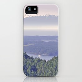 OLYMPIC RANGE AS SEEN FROM ORCAS ISLAND OVER MOUNT ENTRANCE iPhone Case