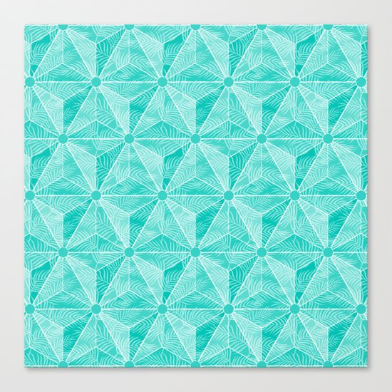 Geodesic Palm_Turquoise Canvas Print