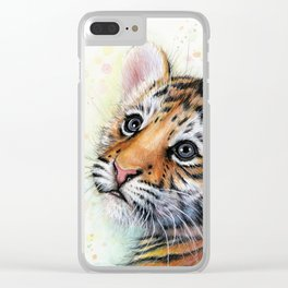 Tiger Cub Watercolor Clear iPhone Case