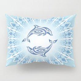 Dolphins Mandala Blue Pillow Sham