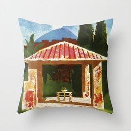 Ercolano Naples Italian summer travel ad Throw Pillow