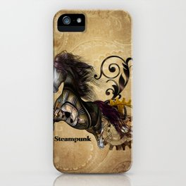 Wild steampunk horse with clocks and gears iPhone Case