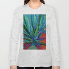 WESTERN DESERT BLUE AGAVE CACTUS in  RED-TEAL Long Sleeve T-shirt
