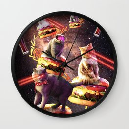 Galaxy Laser Cat On Burger - Space Cheeseburger Cats with Lazer Wall Clock