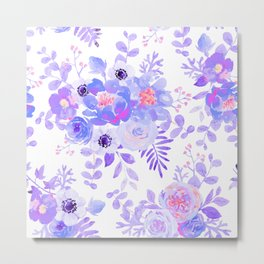 Lilac lavender violet pink watercolor elegant floral Metal Print