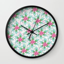 Doodly Flowers Wall Clock