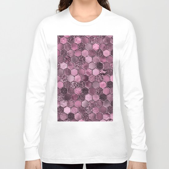 Pink & purple geometric hexagonal elegant & luxury pattern Long Sleeve T-shirt